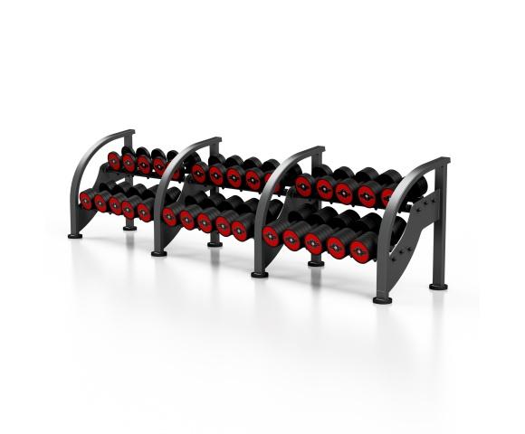 Sada červených činek se stojanem MARBO MF-S002 5-40 kg (15 párů)