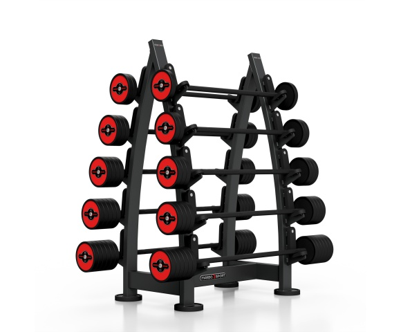 Sada červených, obouručních činek se stojanem MARBO MF-S001 10-55 kg (10 kusů)