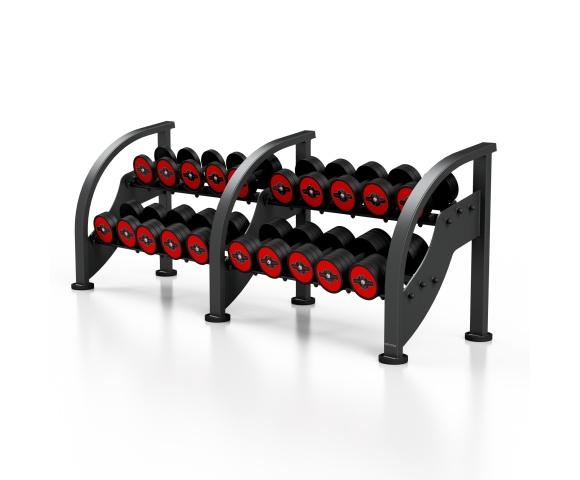 Sada červených činek se stojanem MARBO MF-S002 5-27,5 kg (10 párů)