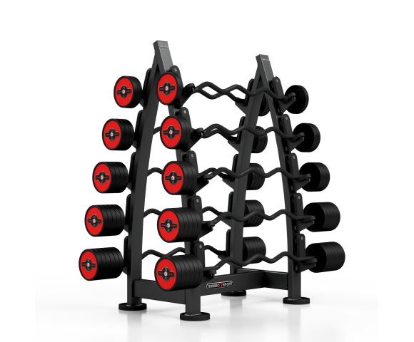 Sada červených, lomených, obouručních činek se stojanem MARBO MF-S001 10-55 kg (10 kusů)
